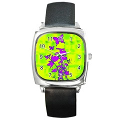 Butterfly Green Square Leather Watch by uniquedesignsbycassie