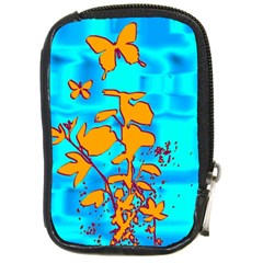 Butterfly Blue Compact Camera Leather Case by uniquedesignsbycassie
