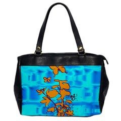 Butterfly Blue Oversize Office Handbag (one Side) by uniquedesignsbycassie