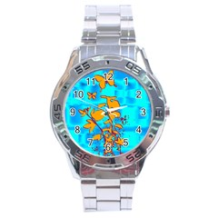 Butterfly Blue Stainless Steel Watch