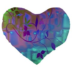 Floral Multicolor 19  Premium Heart Shape Cushion by uniquedesignsbycassie