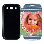 merry christmas, xmas, kids, family - Samsung Galaxy S3 Flip Cover Case