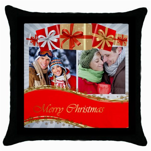 Merry Christmas By Debe Lee   Throw Pillow Case (black)   Xclkwr5zlbrq   Www Artscow Com Front