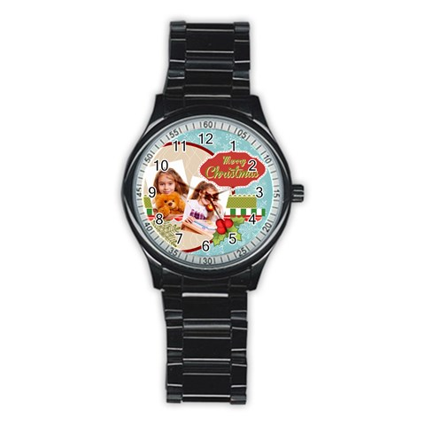 Merry Christmas By Joely   Stainless Steel Round Watch   7t3n7fxo6nik   Www Artscow Com Front