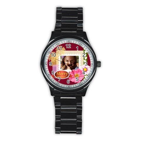 Merry Christmas By Joely   Stainless Steel Round Watch   Cs56vznt15j4   Www Artscow Com Front