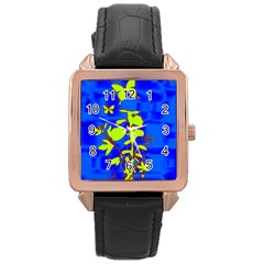 Butterfly Blue/green Rose Gold Leather Watch  by uniquedesignsbycassie