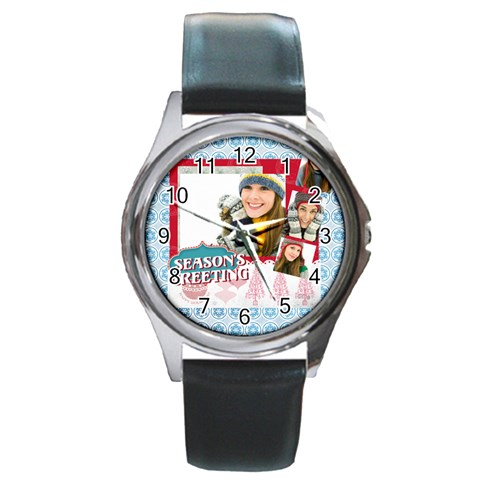 Merry Christmas By Merry Christmas   Round Metal Watch   Coekzua2535n   Www Artscow Com Front