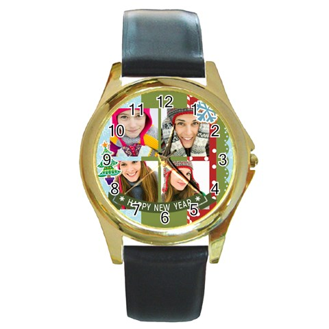 Merry Christmas By Merry Christmas   Round Gold Metal Watch   Ayeak9p1dbem   Www Artscow Com Front