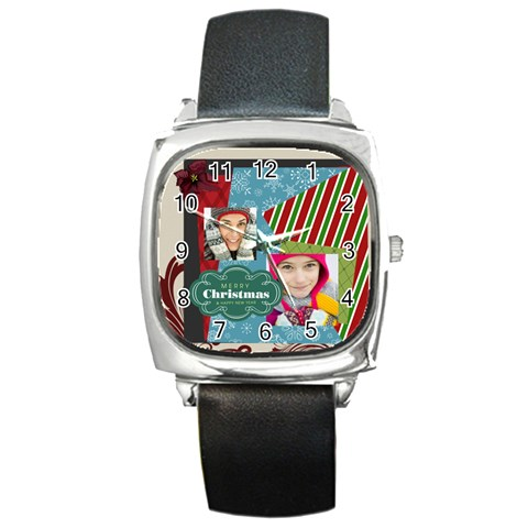 Merry Christmas By Merry Christmas   Square Metal Watch   Rillcmrqldsr   Www Artscow Com Front