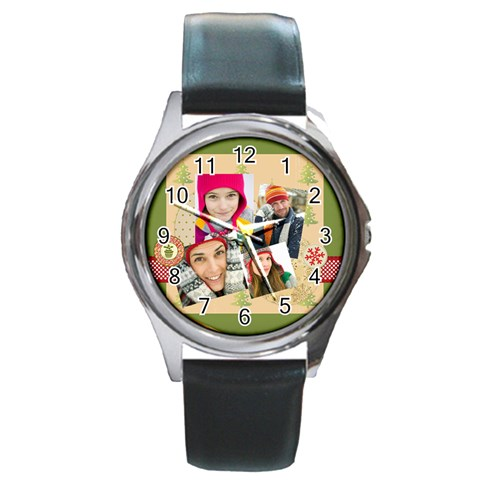 Merry Christmas By Merry Christmas   Round Metal Watch   Brgqwokgcl2i   Www Artscow Com Front