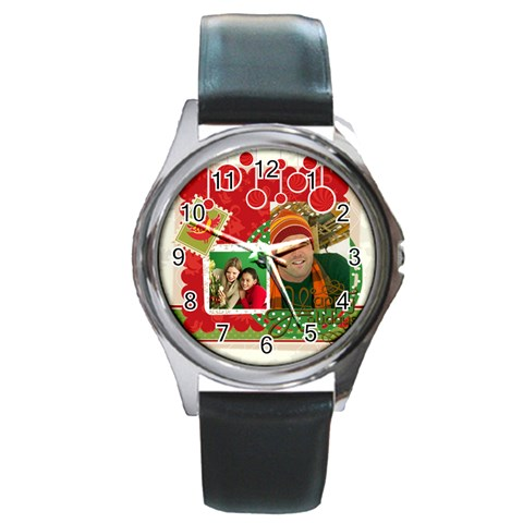 Merry Christmas By Merry Christmas   Round Metal Watch   928pzh645ecd   Www Artscow Com Front
