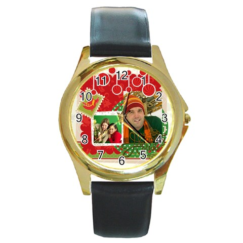 Merry Christmas By Merry Christmas   Round Gold Metal Watch   K2vfpabysxug   Www Artscow Com Front