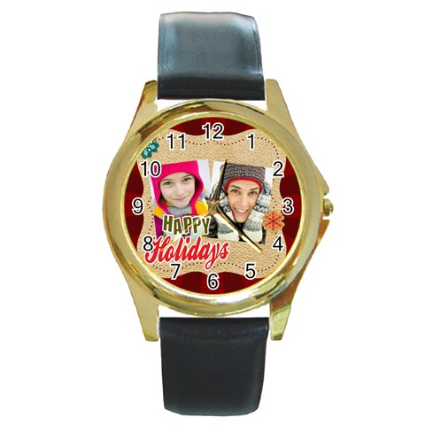 Merry Christmas By Merry Christmas   Round Gold Metal Watch   3dc36dkrolmw   Www Artscow Com Front