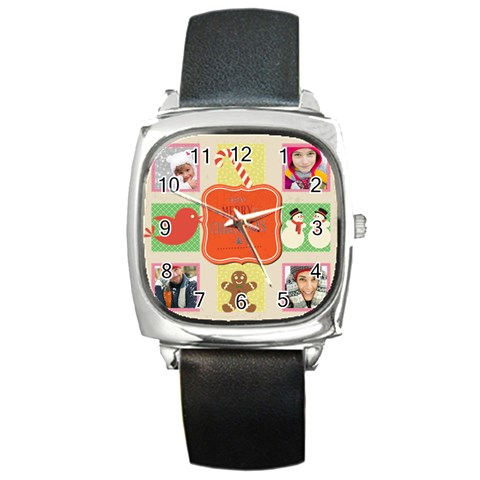 Merry Christmas By Merry Christmas   Square Metal Watch   8safolj3qjn8   Www Artscow Com Front