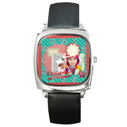 Merry Christmas By Merry Christmas   Square Metal Watch   Fy8urt8wkj3h   Www Artscow Com Front