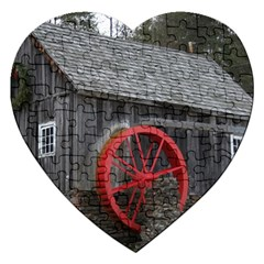 Vermont Christmas Barn Jigsaw Puzzle (heart) by plainandsimple