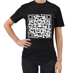 Extraordinary Qr Women s Black T Shirt by doodlelabel
