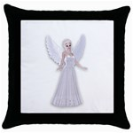 Beautiful fairy nymph faerie fairytale Black Throw Pillow Case