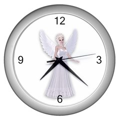 Beautiful Fairy Nymph Faerie Fairytale Wall Clock (silver) by goldenjackal