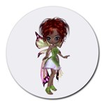Fairy magic faerie in a dress 8  Mouse Pad (Round)