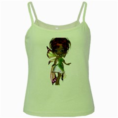 Fairy Magic Faerie In A Dress Green Spaghetti Tank by goldenjackal