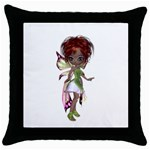 Fairy magic faerie in a dress Black Throw Pillow Case