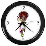 Fairy magic faerie in a dress Wall Clock (Black)