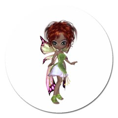 Fairy Magic Faerie In A Dress Magnet 5  (round) by goldenjackal