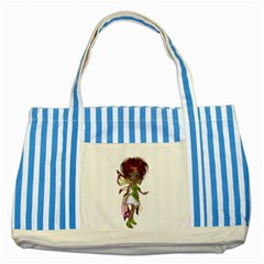 Fairy Magic Faerie In A Dress Blue Striped Tote Bag by goldenjackal