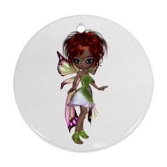 Fairy Magic Faerie In A Dress Round Ornament (two Sides) by goldenjackal