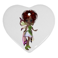 Fairy Magic Faerie In A Dress Heart Ornament (two Sides) by goldenjackal