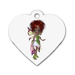 Fairy Magic Faerie In A Dress Dog Tag Heart (two Sided) by goldenjackal