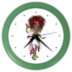 Fairy Magic Faerie In A Dress Wall Clock (color) by goldenjackal