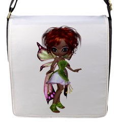 Fairy Magic Faerie In A Dress Flap Closure Messenger Bag (small) by goldenjackal
