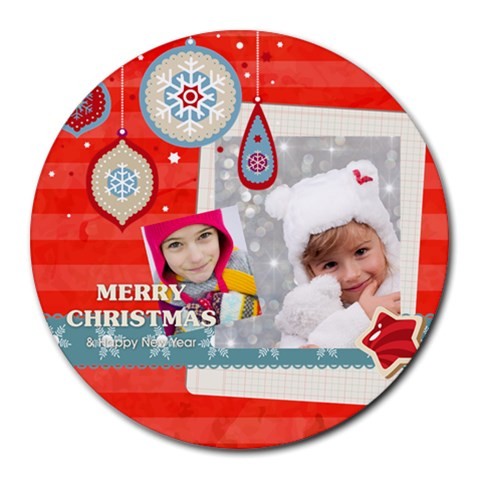 Xmas By Merry Christmas   Round Mousepad   Vjt1oi2lzlcv   Www Artscow Com Front