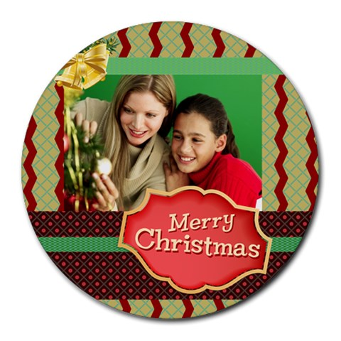 Xmas By Merry Christmas   Round Mousepad   3owiw78kfoam   Www Artscow Com Front