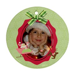 Pink Santa Reindeer Candycane Round Ornament (2 Sides) By Mikki   Round Ornament (two Sides)   1ze61mp0bz3g   Www Artscow Com Front