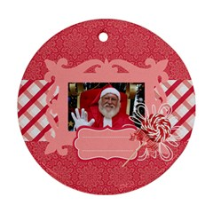 Candy Cane Santa Round Ornament (2 Sides) By Mikki   Round Ornament (two Sides)   Ycgew7f2bff5   Www Artscow Com Front