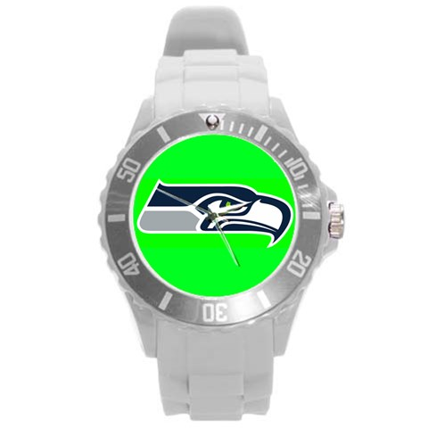 Hawks Watch5 By Kelly L  Baker   Round Plastic Sport Watch (l)   Yq8r9ym0jv48   Www Artscow Com Front