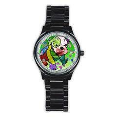 Pug Sport Metal Watch (black) by Siebenhuehner