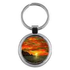 Alyssa s Sunset By Ave Hurley Artrevu   Key Chain (round) by ArtRave2