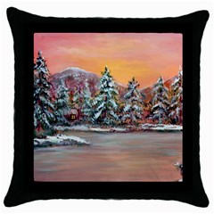 jane s Winter Sunset   By Ave Hurley Of Artrevu   Throw Pillow Case (black) by ArtRave2
