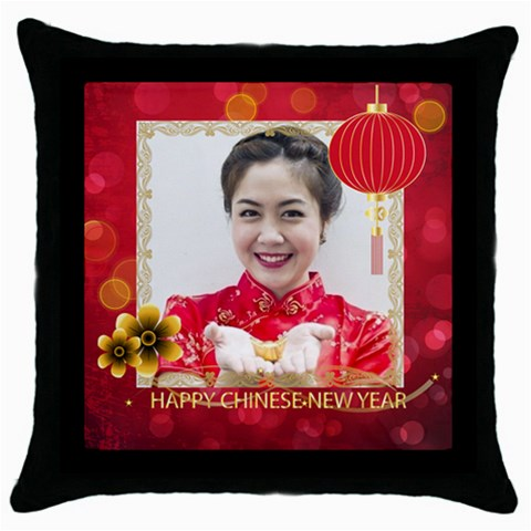 Chinese New Year By Ch   Throw Pillow Case (black)   6d6pcha4qu82   Www Artscow Com Front