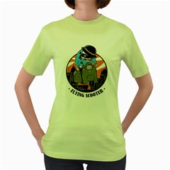 Flying Scooter Womens  T Shirt (green) by Contest1821262