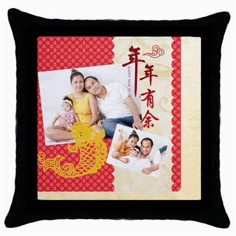 Chinese New Year By Ch   Throw Pillow Case (black)   Tgi02i29iax9   Www Artscow Com Front