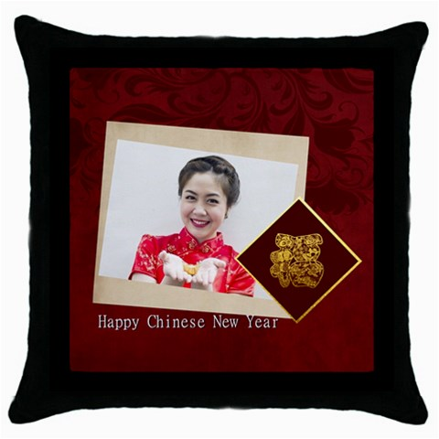 Chinese New Year By Ch   Throw Pillow Case (black)   T5wkqs9tlf5w   Www Artscow Com Front