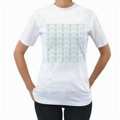 Allover Graphic Soft Aqua Womens  T Shirt (white) by ImpressiveMoments