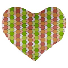 Allover Graphic Red Green 19  Premium Heart Shape Cushion by ImpressiveMoments