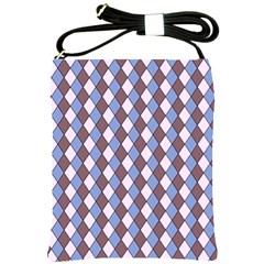 Allover Graphic Blue Brown Shoulder Sling Bag by ImpressiveMoments