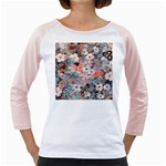 Spring Flowers Women s Long Cap Sleeve T-Shirt (White)